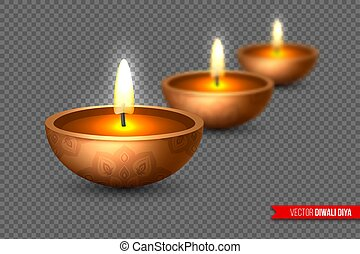 ベクトル, スタイル, 要素, indian, diya, 祝祭, lamp., diwali, -, 効果, オイル, 伝統的である, 現実的, 背景, ぼやけ, illustration., lights., 透明, 3d