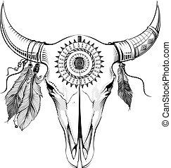 ベクトル, スタイル, 雄牛, 民族, イラスト, skull.
