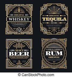 ベクトル, スタイル, 飲料, 芸術, アルコール中毒患者, 型, ラベル, ウイスキー, deco, レトロ