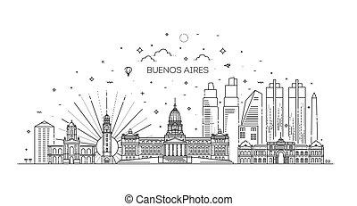 ベクトル, スタイル, aires, argentina., イラスト, 最新流行である, 線である, スカイライン, buenos