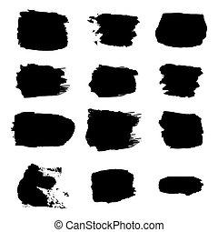 ベクトル, ストローク, 白いペンキ, 背景, ブラシ, セット, 手の概要