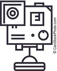 ベクトル, ストローク, editable, イラスト, 印, gopro, 背景, カメラ, アイコン, ビデオ, 線