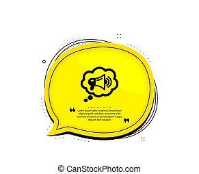 ベクトル, スピーチ, bubble., メガホン, 装置, 印。, icon., 広告, 大使, ブランド