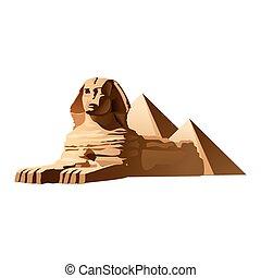 ベクトル, スフィンクス, イラスト, エジプト人