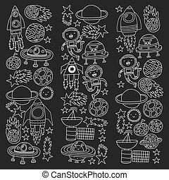 ベクトル, スペース, パターン, spaceships, 飛行, アイコン, saucers., 星, 惑星, シャトル, ロケット, すい星