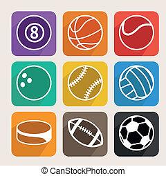 ベクトル, スポーツ, セット, ボール
