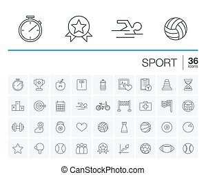 ベクトル, スポーツ, フィットネス, アイコン
