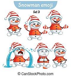 ベクトル, セット, の, かわいい, 雪だるま, characters., セット, 3