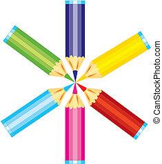 ベクトル, セット, の, カラフルである, 鉛筆