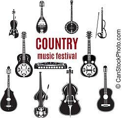 ベクトル, セット, の, カントリーミュージック, 道具, 黒い、そして白い, デザイン