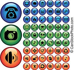 ベクトル, セット, の, ボタン