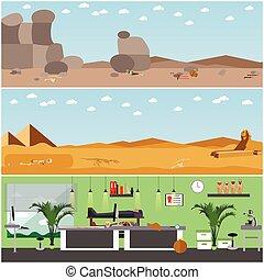 ベクトル, セット, の, ポスター, 旗, ∥で∥, 考古学者, 場所, 道具, そして, equipment.