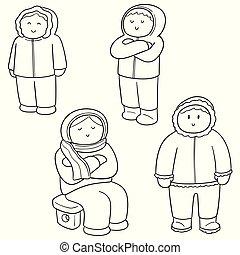 ベクトル, セット, の, 人々が中にいる, 冬服
