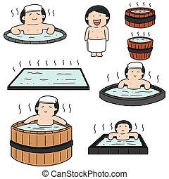ベクトル, セット, の, 人々, 入浴, 中に, 熱 湯, プール