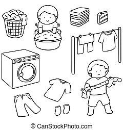 ベクトル, セット, の, 人々, 服を洗う