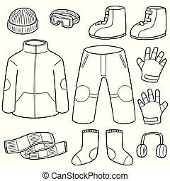 ベクトル, セット, の, 冬服
