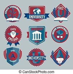 ベクトル, セット, の, 大学, そして, 大学, 学校, badges.