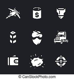 ベクトル, セット, の, 戦い, に対して, 犯罪, オイル, icons.