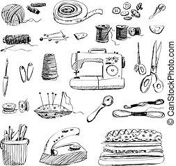 ベクトル, セット, の, 手, 引かれる, 裁縫, そして, 刺繍, 道具, 白, 背景