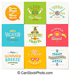 ベクトル, セット, の, 旅行, そして, 夏 休暇, タイプ, デザイン