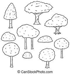 ベクトル, セット, の, 木