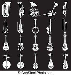 ベクトル, セット, の, 楽器, 白, テンプレート