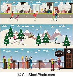 ベクトル, セット, の, 活動的, 冬, 人々, ポスター, 中に, 平ら, デザイン