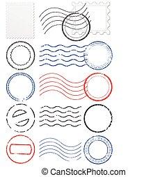 ベクトル, セット, の, 消印, &, stamps.