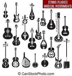 ベクトル, セット, の, 黒い、そして白い, ひも, 引き抜かれた, 楽器, 中に, 平ら, デザイン