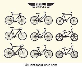 ベクトル, セット, の, bicycle.