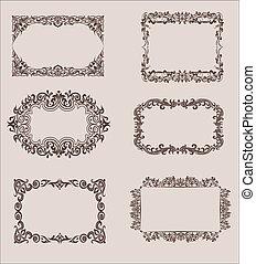 ベクトル, セット, の, calligraphic, 要素を設計しなさい, そして, ページ, 装飾, 仕切り