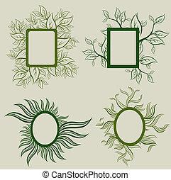 ベクトル, セット, の, leafs, フレーム