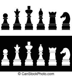 ベクトル, セット, アイコン, チェス, イラスト