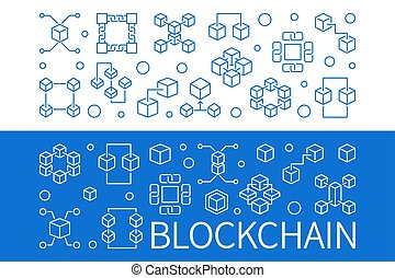 ベクトル, セット, アウトライン, blockchain, 2, 水平なバナー
