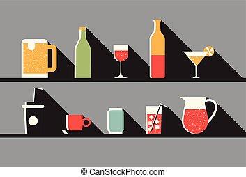 ベクトル, セット, イラスト, 飲みなさい, アイコン