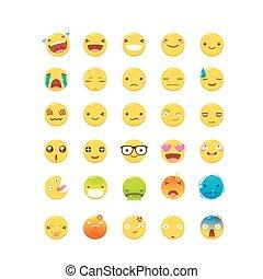 ベクトル, セット, イラスト, 黄色, emoticon.