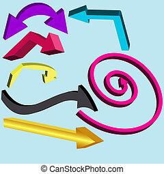 ベクトル, セット, イラスト, arrows.