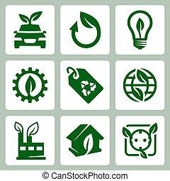 ベクトル, セット, エコロジー, アイコン