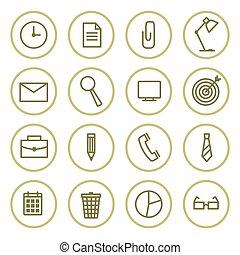 ベクトル, セット, オフィスアイコン, イラスト, circles., 輪郭