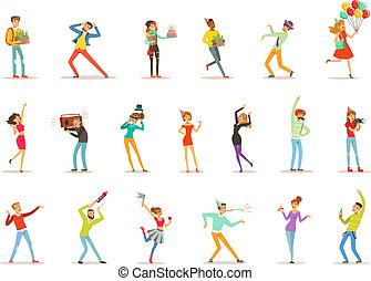 ベクトル, セット, カラフルである, 人々, 寄付, 祝う, 贈り物, 楽しみ, birthday, 特徴, イラスト, パーティー, 持つこと, 幸せ