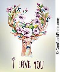 ベクトル, セット, カラフルである, flor, 手, 水彩画, deer., 花, 引かれる