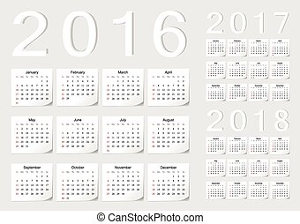 ベクトル, セット, カレンダー, 2017, 2016, 2018, ヨーロッパ