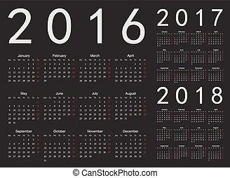 ベクトル, セット, カレンダー, 2017, 2016, 2018, 年, 黒, ヨーロッパ