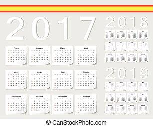 ベクトル, セット, カレンダー, 2017, 2019, スペイン語, 2018