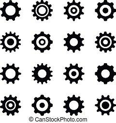 ベクトル, セット, ギヤ, icons., アイコン