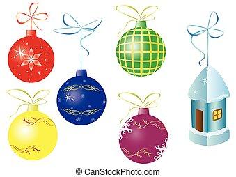 ベクトル, セット, クリスマスの 装飾, 6