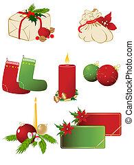 ベクトル, セット, クリスマス, アイコン