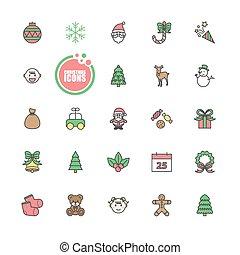 ベクトル, セット, クリスマス, 冬, イラスト