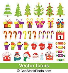 ベクトル, セット, クリスマス, icons.