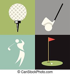 ベクトル, セット, ゴルフ, イラスト, アイコン